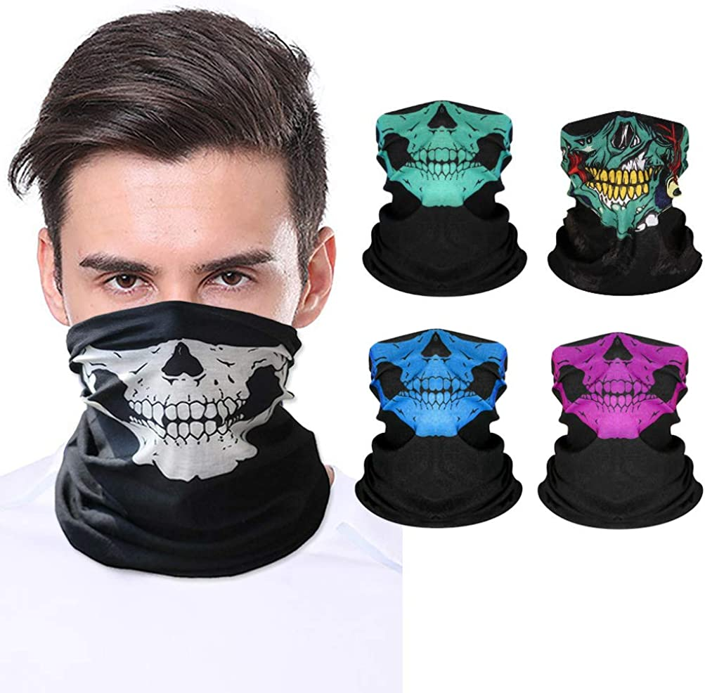 Bandana Face Mask for Men Women, Face Scarf Tube Neck Gaiter Breathable,Motorcycle Face Mask for Rave Dust Wind Sun UV