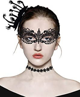 Ypser 3 Pcs Halloween Headband Masquerade Mask Choker Necklace Cat Costume Set