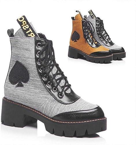 ZHRUI Stiefel para damen - Stiefel Gruesas de otoño e Invierno Botines Puntiagudos Stiefel Martin de tacón Alto Stiefel para damen 34-43 (Farbe   grau, tamaño   36)