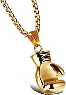 Men Women Punk Stainless Steel Boxing Glove Chain Pendant Necklace