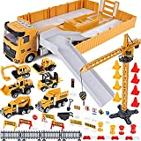 Vehiculos Construccion Juguete Niños con Grandes Camión Grúa Excavadora Hormigonera Camión Carretilla Elevadora Juguete Vehículos de Construcción Camión Juguete Regalo para Niños 3 4 5 6 7 8 9 años