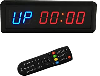 BTBSIGN LED Interval Timer Count Down/Up Clock Stopwatch with Remote For Home Gym Fitness (Two Blue+Four Red)