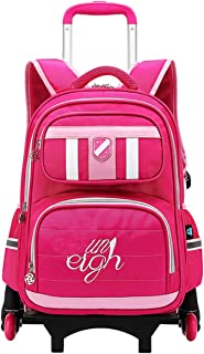 Zhhlaixing Rolling Backpack Lighten Load - Wheeled School Bags for Kids Camping Upright Wheels Trolley Schoolbag Suitcase