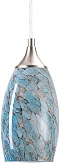 SUNPIN Hanging Pendant Lighting, Handcrafted Marble Glass Oval Art Shade Hanging Light, Brushed Nickel Finished with Adjustable Cord Mounted Fixture (Blue)
