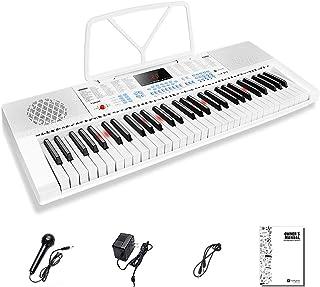 Vangoa VGK611 Electronic Keyboard Piano, 61-Lighted Mini Key Electric Piano Keyboard with 3 Teaching Mode, Microphone, 350 Tones, 350 Rhythm, 30 Demo Songs, 8 Percussion, White