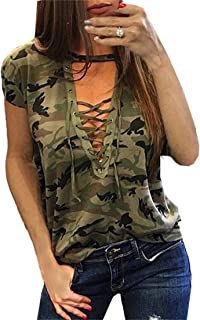 Smile fish Women Camouflage Print V-Neck Lace-up T-Shirt