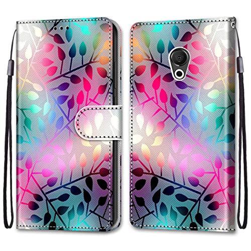 Ougger Hülle für Meizu 15 Lite, M15 Handyhüllen Flip Hülle Cover Stylish mit Standfunktion & Magnetisch PU Tasche Schutzhülle passt für Meizu 15 Lite, M15 (Buntes Blatt)