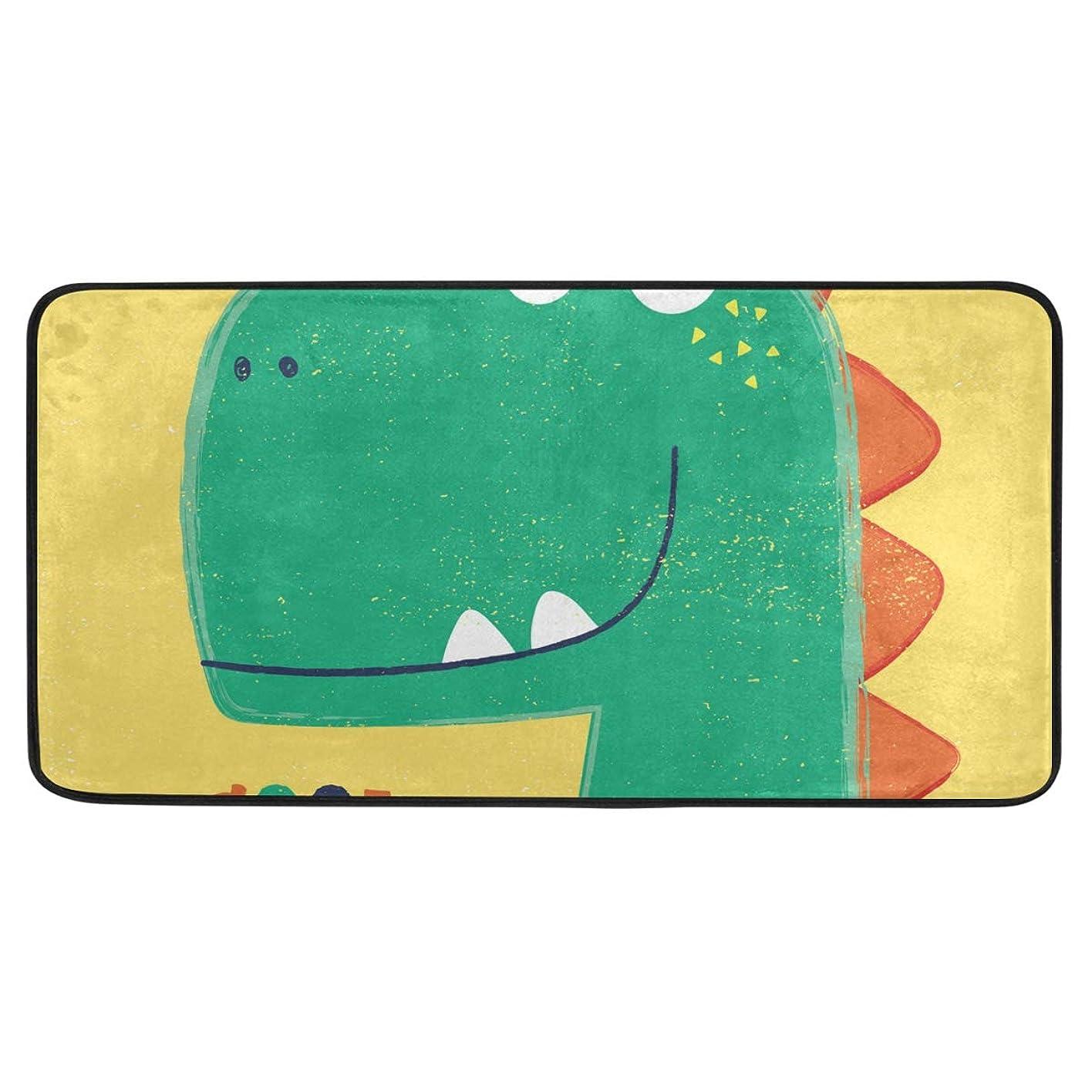 キャンドル速報スライムキッチンマット 廊下マット 台所マット 玄関マット カートゥーン 恐竜 洗える 滑り止め 掃除易い 毛玉になりにくい