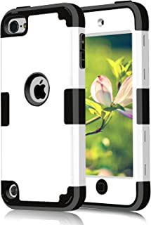 Case for iPod Touch 2019 5 6, CheerShare 3 in 1 Hard PC Case + Silicone Shockproof Heavy Duty High Impact Armor Case Cover Protective Case for Apple iPod Touch 7th 6th 5th Generation (White+Black)