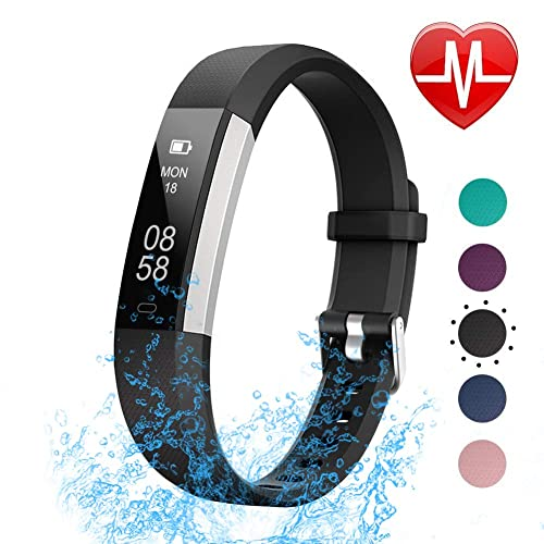 de921a6da LETSCOM Fitness Tracker with Heart Rate Monitor, Slim Sports Activity  Tracker Watch, Waterproof Pedometer