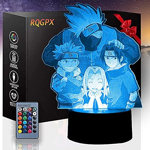 3D LED noche luz Naruto para niños niñas mesa escritorio lámpara 16 cambio de color decoración lámpara