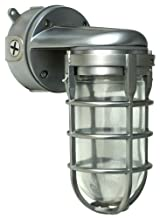 Woods L1707SVBS Traditional 150W Incandescent Weather Industrial Light, Wall Mount, Brushed Steel