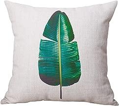 WINOMO Throw Pillow Case Cotton Linen Sofa Cushion Pillow Case Cushion Cover Bedroom Home Decor 18x18 (Banana Leaf)