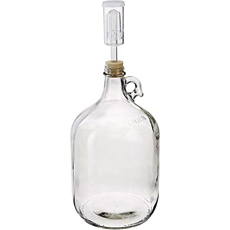 North Mountain Supply 1 Gallon Glass Jug with Handle, Rubber Stopper & 3-Piece Airlock, Clear, Nms 38 Gallon Jug - 6.5 + 3-Piece