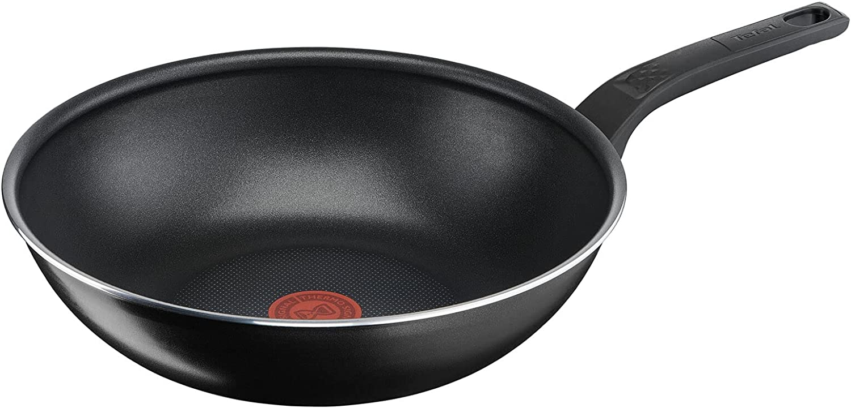 Tefal Sartén Wok Easy Cook & Clean de 28 cm, con revestimiento antiadherente, segura, señal térmica, base estable, forma ideal, cocina saludable, color negro