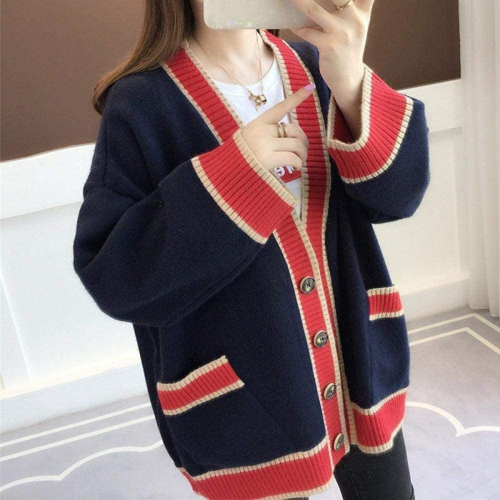 CHENGYYDP Cardigan Ladies Sweater Coat Cardigan Women Loose Top Net Red Lazy Knit Cardigan (Color : Navy, Size : One Size)
