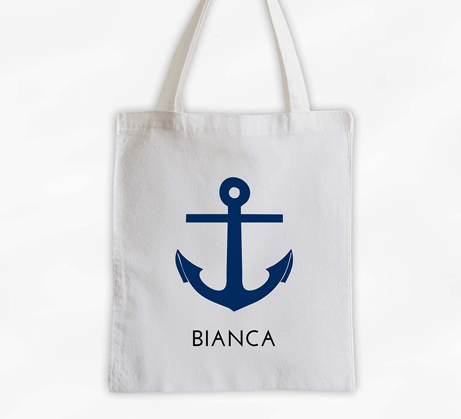 Anchor Nautical Cotton Canvas Tote with Oklahoma City Mall Bag Personalized Max 67% OFF 3 Name