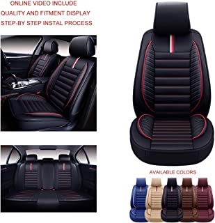 Oasis Auto OS-001 Universal Leather Seat Covers Car and SUV Cushion Automotive Vehicle Interior Accessory Replacement: Honda-Toyota-Nissan-Subaru-Jeep-Hyundai-Mazda-KIA-Ford-Chevy-Acura-VW-Lexus-BMW