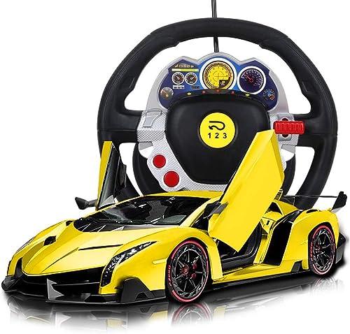 Kikioo Laamborgnini Pooisonn Offizielles lizenziertes ferngesteuertes Auto für Kinder mit Arbeitsscheinwerfern, ferngesteuert auf der Stra  RC-Auto 1 12, Modell 2,4 GHz, gelb