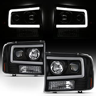 For 99-04 Ford F250 F350 F450 F550 SuperDuty Pickup LED Tube Bar Black Projector Headlights Pair LH+RH