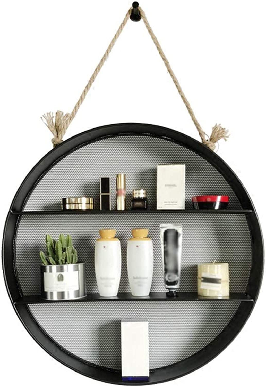 GWM Shelf Loft Retro Shelf,Hanging Multi-Layer Floating Wall Shelf with Hemp Rope Creative Round Iron Decorative Hanging Basket Storage Racks