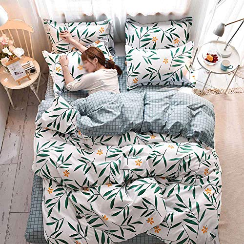 Fansu Duvet Cover Set with Fitted Sheet & Pillow Cases, Double Super King Bed 4 Pieces Single Bed 3 Pieces Microfiber Cartoon Print Bedding Sets (Bamboo leaves,150x200cm-4pcs)