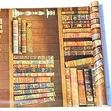 Carta da parati in legno con venature del legno, 3D, vintage, libreria, stampa peel & stick, carta da parati con venature del legno, autoadesiva, per parete