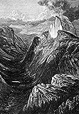 ヨセミテ テナヤキャニオン ネナヤ渓谷から眺めたヨセミテ渓谷の木彫り アメリカン 1874 ポスタープリント 24 x 36