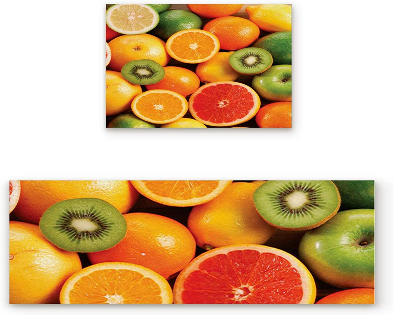 KAROLA 2 Piece Non-Slip Kitchen Mat Doormat Runner Rug Set Thin Low Pile Indoor Area Rugs orange Kiwi Pattern Fruit Design 19.7 x31.5 +19.7 x47.2
