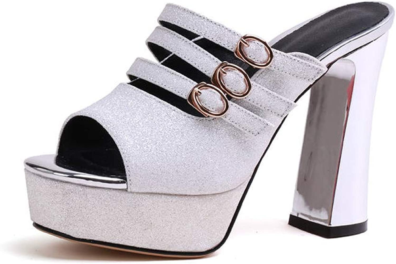 T-JULY Summer Mules Pumps shoes for Women Chunky High Heels Peep-Toe Sexy Buckle Straps Party Woman shoes