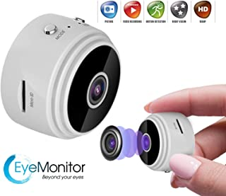 EYE-MONITOR Mini Wireless Hidden Security Surveillance Spy Camera, Night Vision 1080P Full HD, WiFi, IP, Digital Video Recorder for iOS iPhone and Android (White)