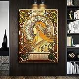 ganlanshu Cuadro En Lienzo Chica clásica para decoración de Paredes póster Sala de Estar pósters y decoración50x75cmPintura sin Marco
