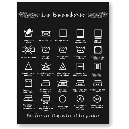 ETBGYKOU Français blanchisserie Symbole Signe Imprime Noir et Blanc Affiche Mur Art Photo Toile Peinture buanderie décor 50x70cm Pas de Cadre