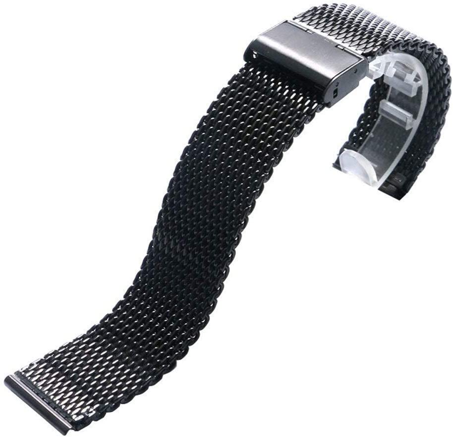 ZJSXIA 20 22mm Black Stainless security Steel Deployment Bands Watch Sales results No. 1 Mesh