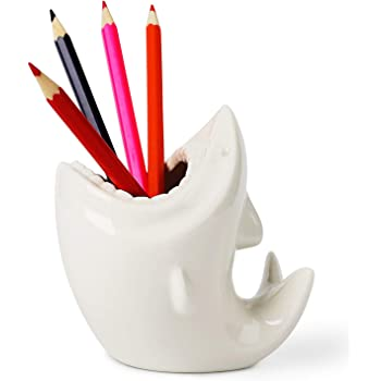 ComSaf Cute Shark Shaped Pen Pencil Holder, White Ceramic Succulent Planter Pots for Home Office Decoration Desk Organization, Set of 1
