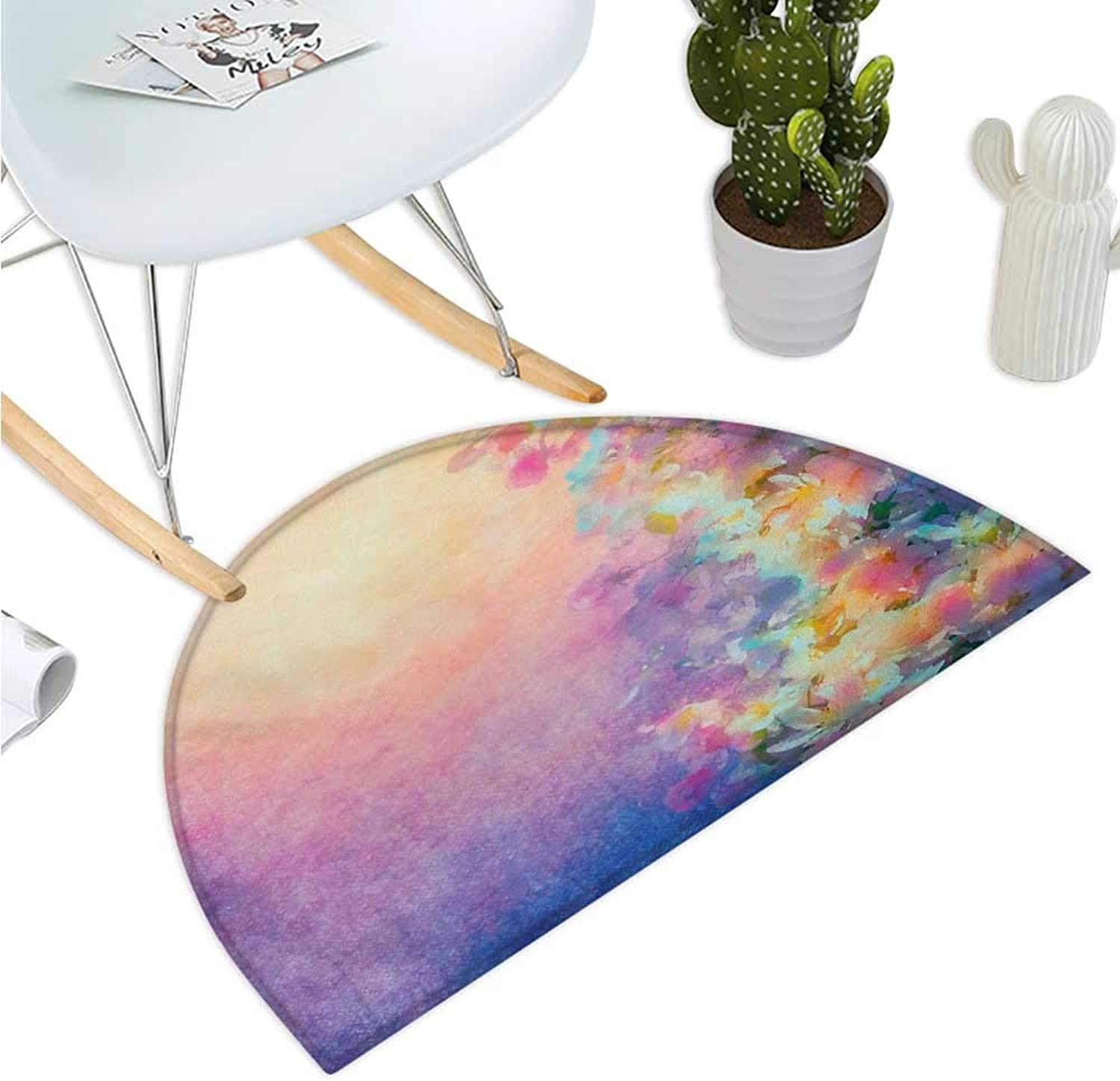 Purple Semicircular Cushion Watercolor Style Effect Spring Cherry Blossom Japanese Asian Nature Print Halfmoon doormats H 43.3  xD 64.9  Marigold and Purple