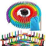 AISFA 積み木 ドミノ倒し 知育玩具 12カラー 240枚 木製 カラフル こども 誕生日 プレゼント 並べる用道具と収納袋 セット