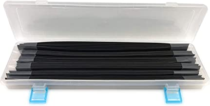 """46 Pcs Black Long Size 2:1 Dual Wall Heat Shrink Tubing kit, 6 Size (Dia): 2/5"""", 1/2"""", 9/16"""", 5/8"""", 5/7"""", 4/5"""", Best Cable Sleeve Tube Assortment with Storage Case for DIY by J&A Jason Aerobic"""