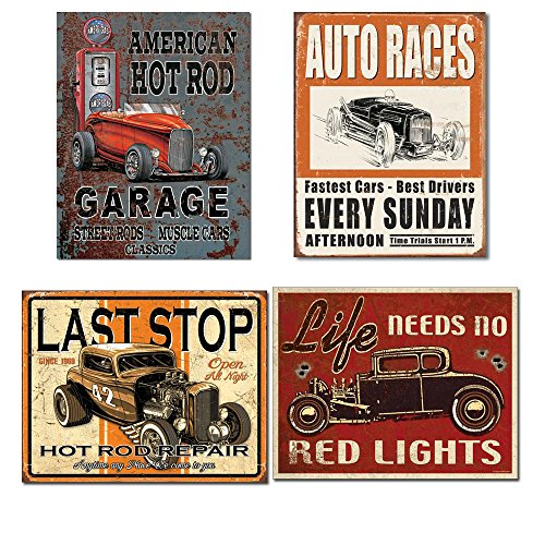 Vintage Hot Rod Garage Tin Signs Bundle - Legends American Hot Rod, Vintage Auto Races, Last Stop Hot Rod Repair and Life Needs No Red Lights
