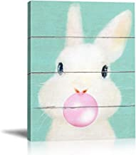 BOLUO Cute Baby Animals Rabbit Wall Art Painting Framed Canvas Painting Blowing Bubbles Prints Pictures Nursery Children Kids Room Decor 12x16in (Rabbit)