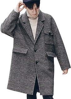 VICALLED メンズ コート ロング チェスターコート カジュアル ジャケット 大きいサイズ ゆったり アウター リラックス チェックコート おしゃれ ラシャ 防寒 防風 グレー 春 秋 冬