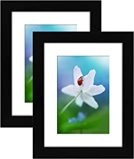 Americanflat 2 Pack - 6x8 Tabletop Frames - Display Pictures 4x6 with Mat - Display Pictures 6x8 Without Mat - Glass Fronts, Easel Stands, Ready to Display on Tabletop