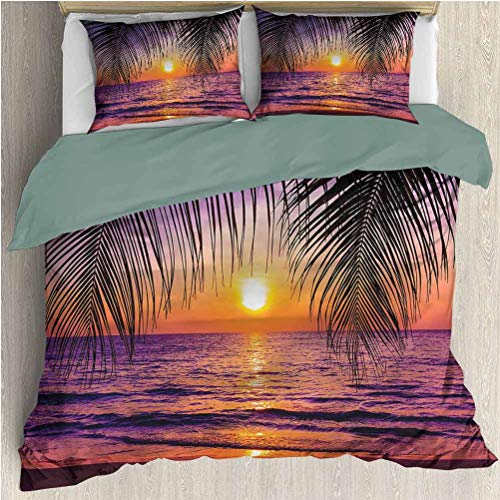 HELLOLEON Tropical 3-Pack (1 Duvet Cover and 2 Pillowcases) Bedding Sunset Twilight Sundown Polyester (Full)