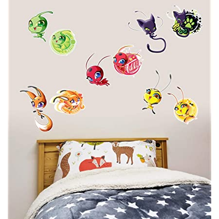 WQSZ Stickers muraux Miraculous Tales of Ladybug Cat Wall Decal Smashed 3D Sticker Decor Vinyl for Kids Nursery Bedroom Living Room