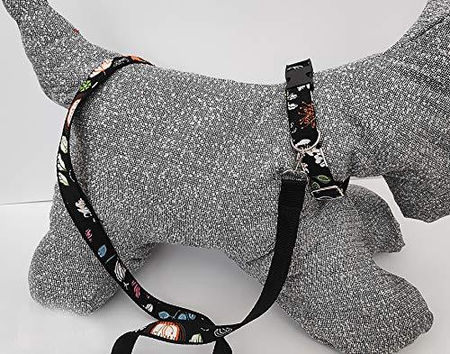 Hundehalsband und Blei mit Schleife. Benutzerdefiniert. Personalisiert. schwarz mit jazzigem Muster