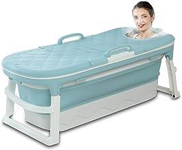 Vrijstaande badkuip voor volwassenen, opvouwbare badkuip huishoudelijke badwastafel, constante temperatuur met deksel blau...