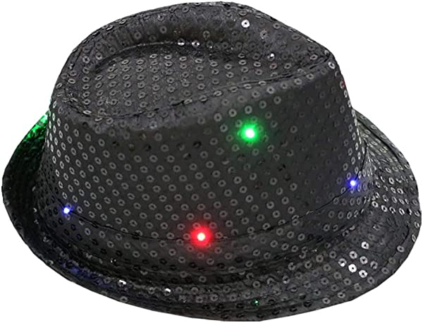 Lomsarsh Glowing Fisherman Hat Flashing Light Up Led Colorful Sequin Unisex Fancy Dress Dance Party Hat