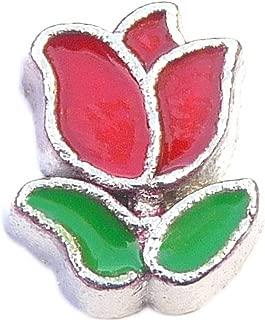 Red Tulip Floating Locket Charm