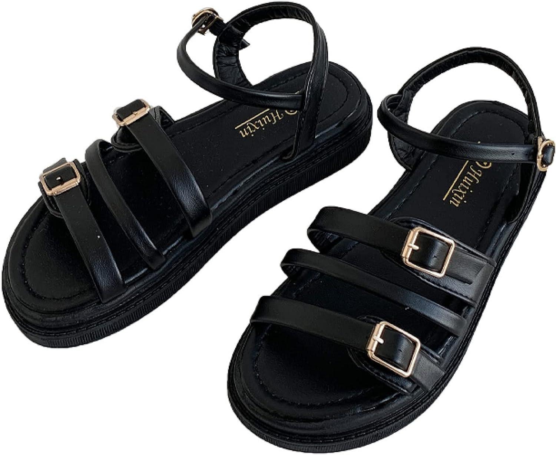 Women's Popular shop is the lowest price challenge Flat Sandals Low Heel Buckle Ankle Slingback Strap Sanda Under blast sales
