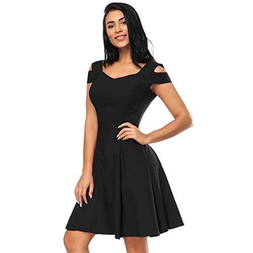 9a0fb181955b Women's V Neck Flare Dresses Cold Shoulder Party A-line Skater Dress